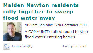 Maiden Newton residents rally together to sweep flood water away