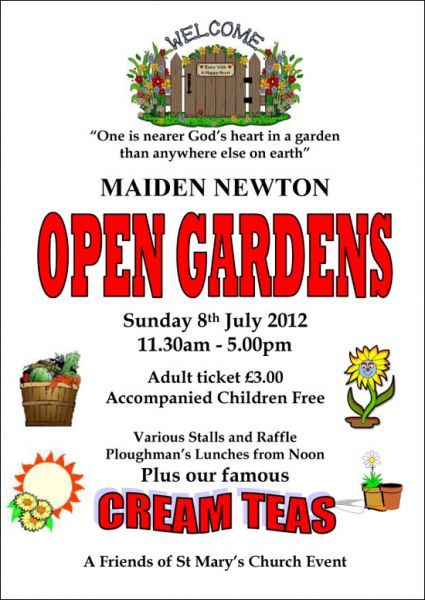Maiden Newton Open Gardens Sunday 8th july 2012